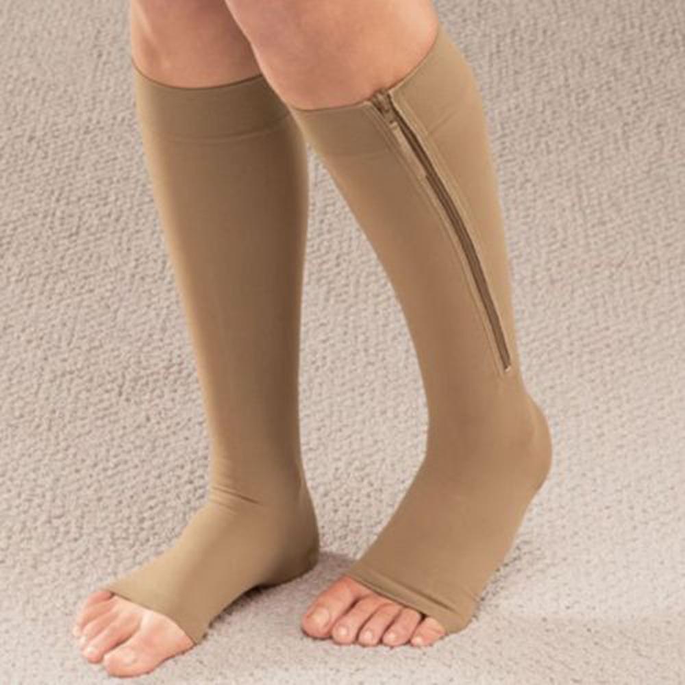 Zip-Up Compression Zip Leg Support Knee High Stocking Varicose socks Open Toe