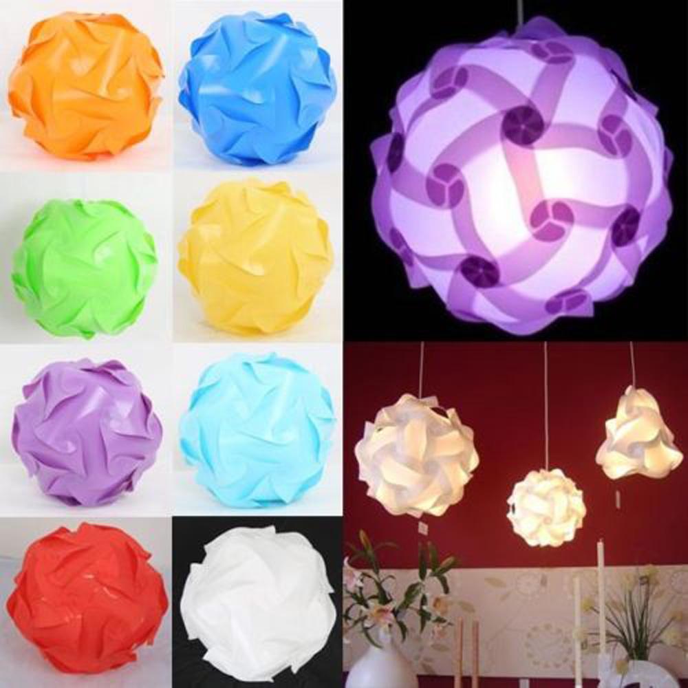 30Pcs/Set DIY Modern IQ Puzzle Jigsaw Light Lamp Shade Ceiling Lampshade 25cm